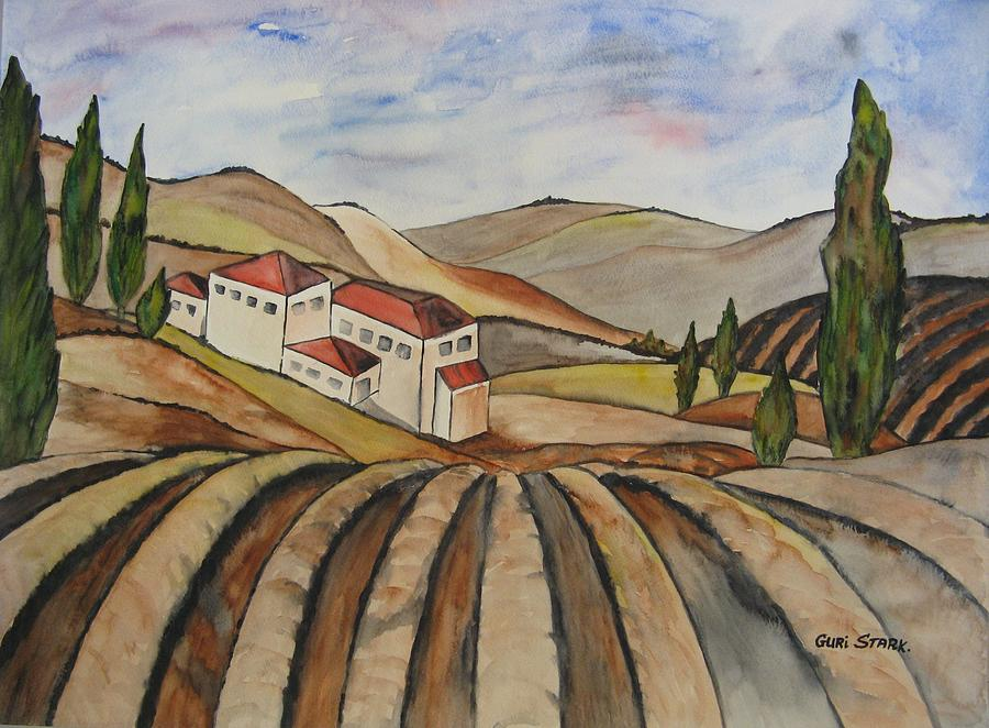 Watercolor Painting - The Valley Of Jesrael by Guri Stark