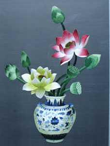 Handmade Silk Embroidery Tapestry - Textile - The Vase And Lotus by Xiaohuan Sheng