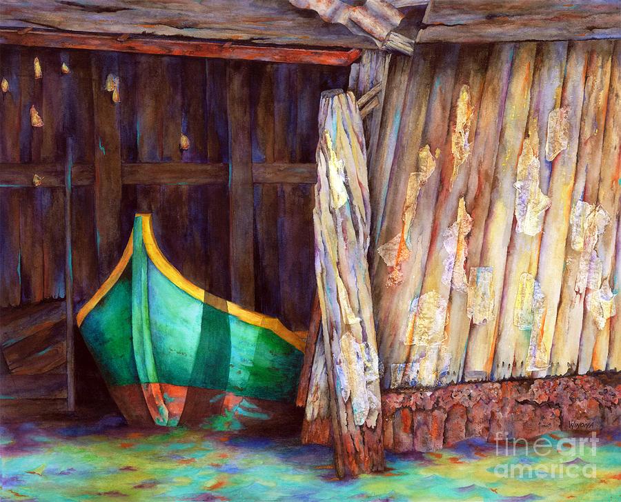 Boats Painting - The Venetian Boathouse by Winona Steunenberg