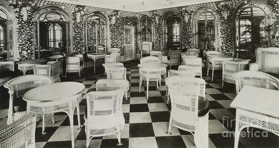 Titanic Photograph - The Verandah Cafe Of The Titanic by Photo Researchers