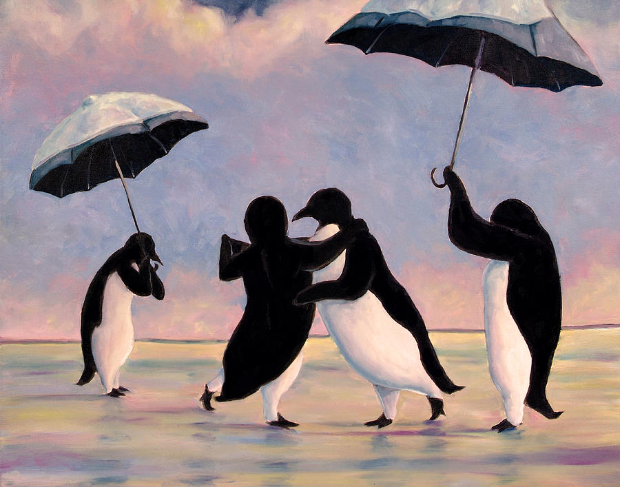 Penguins Painting - The Vettriano Penguins by Michael Orwick