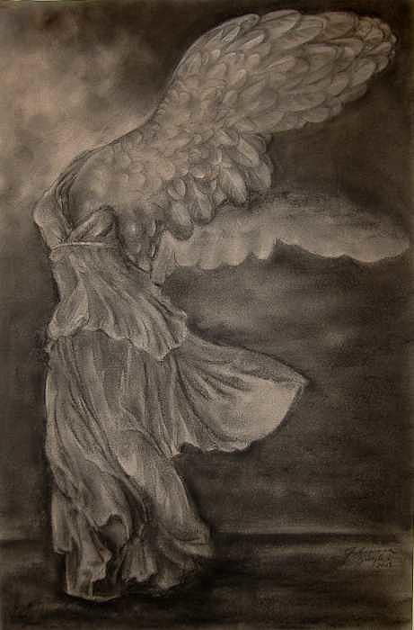 Nike Drawing - The Victory of Samothrace by Julianna Ziegler