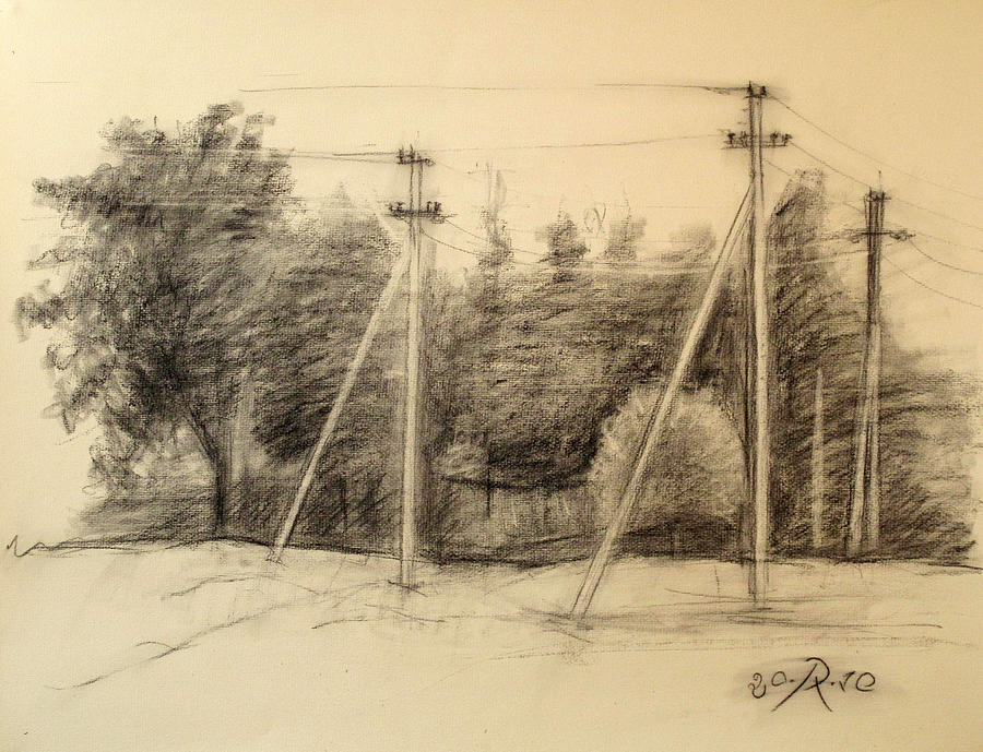 Charcoal Drawing - The view of the village by Raimonda Jatkeviciute-Kasparaviciene