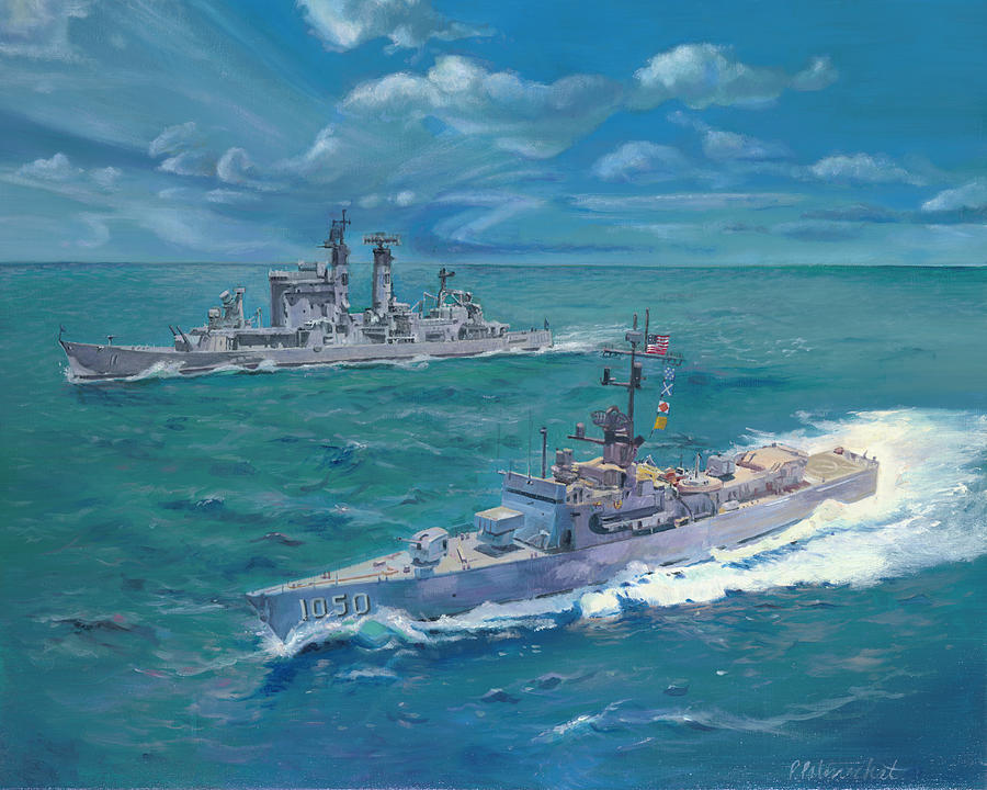 Us Navy Destroyer Escort Painting - The Vigilant Shepherd by Patty Palenschat