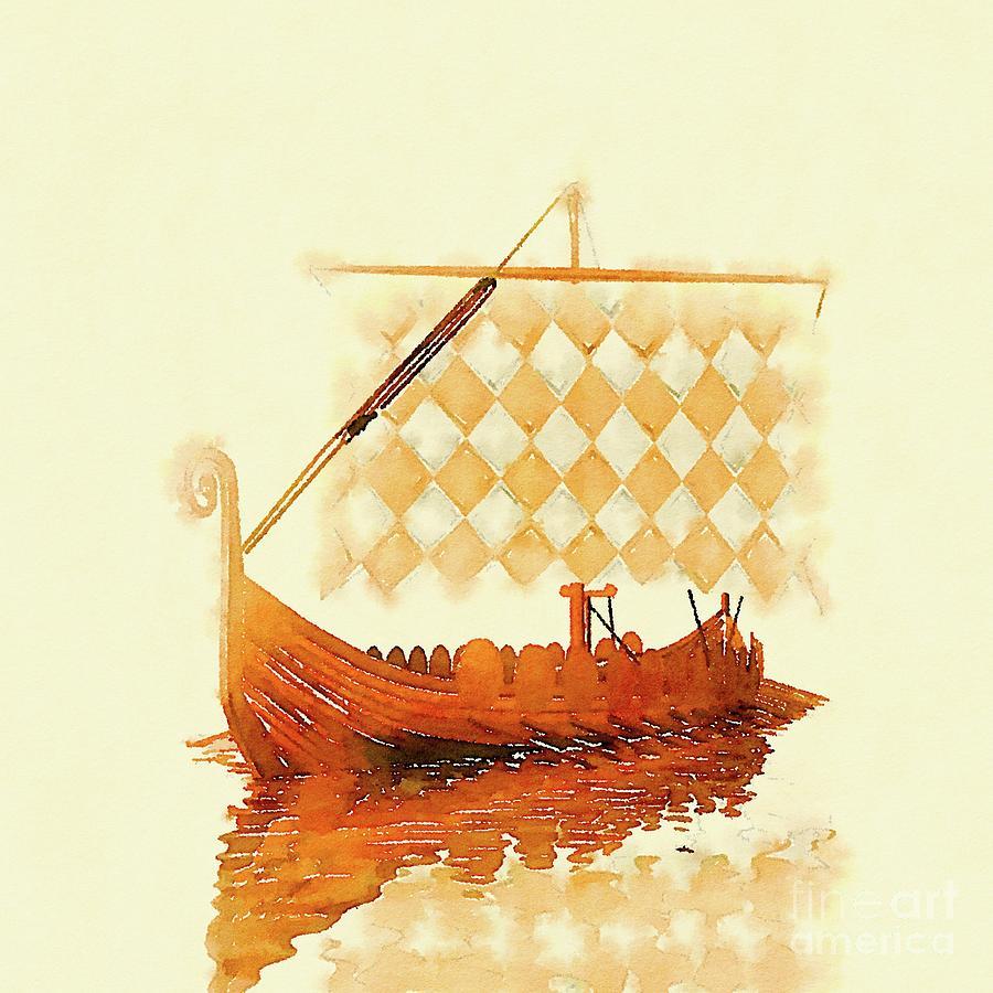 Viking Painting - The Viking Ship by Pierre Blanchard