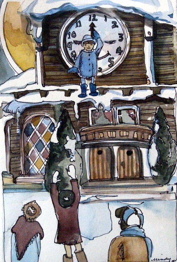Children Painting - The Village Clock by Mindy Newman