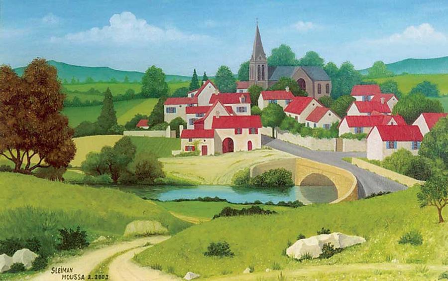 Landscape Painting - The Village by Sleiman Moussa