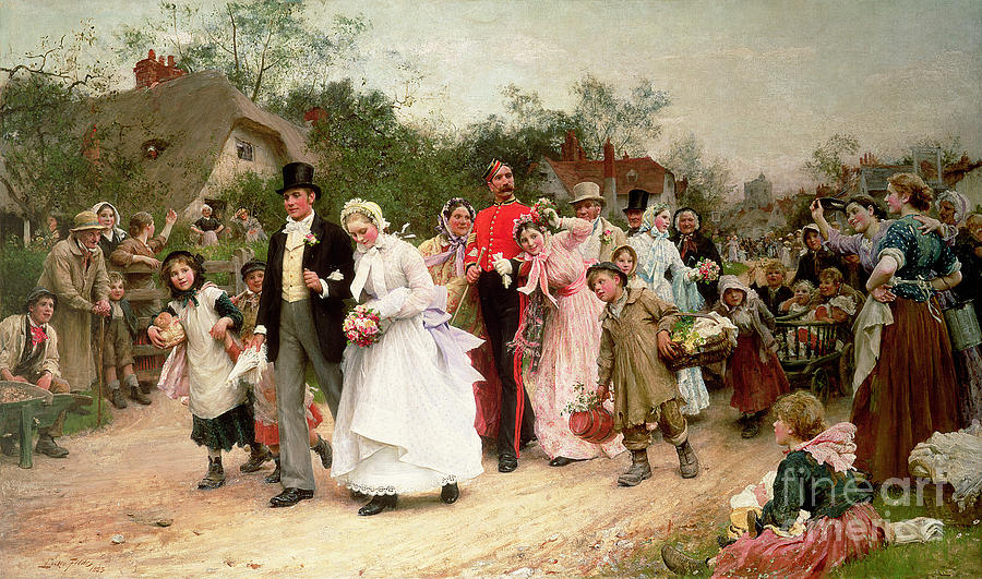 Portrait; Group Painting - The Village Wedding by Sir Samuel Luke Fildes