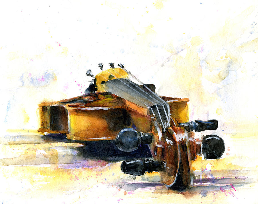 Violin. Watercolor Painting - The Violin by John D Benson