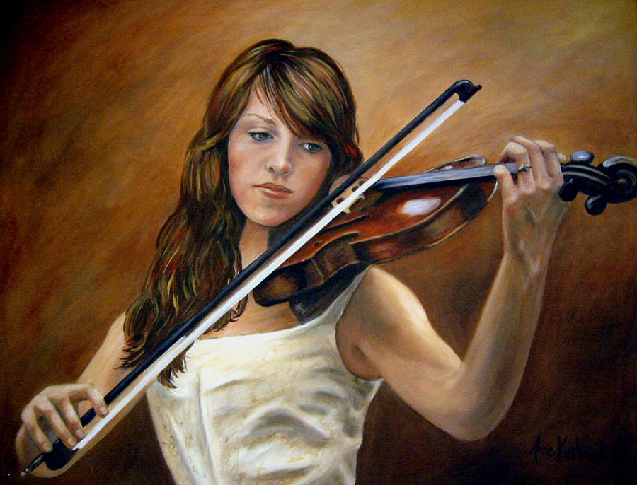 Portrait Painting - The Violinist by Anne Kushnick