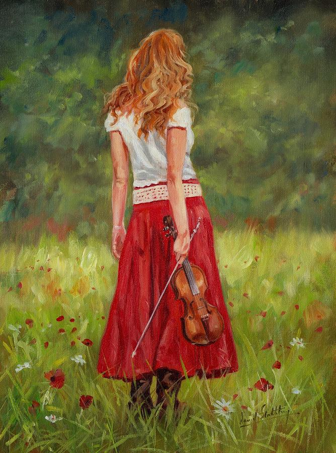 Girl Painting - The Violinist by David Stribbling