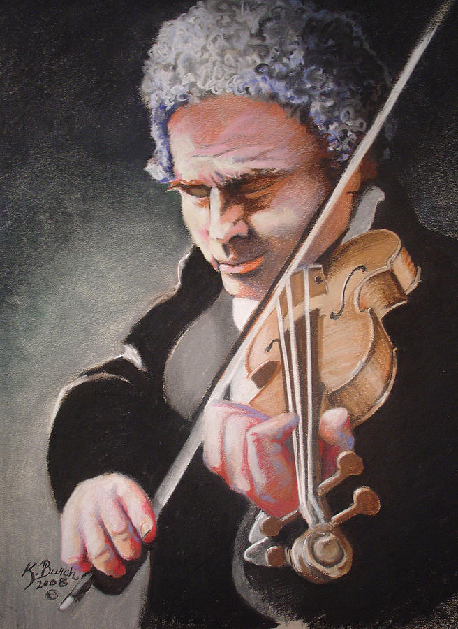 Violins Pastel - The Violinist by Kerry Burch