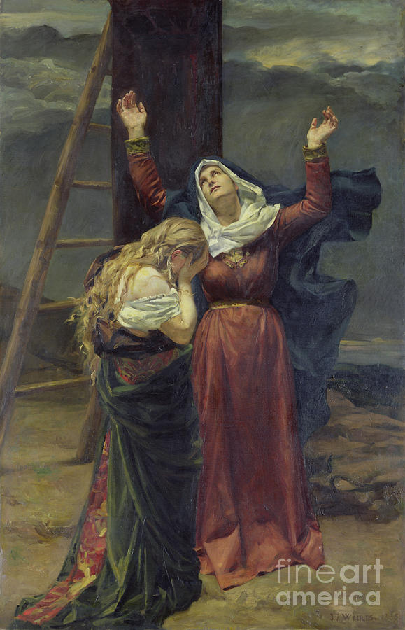 Madonna; Mary; Mourning; Sorrow; Sadness; C19th; C20th; St. Mary Magdalene; Saint; Crying; Weeping; Ladder; Crucifixion Painting - The Virgin At The Foot Of The Cross by Jean Joseph Weerts