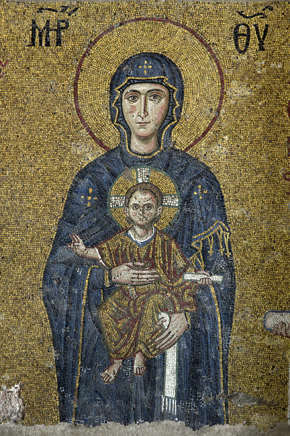 Hagia Sophia Photograph - The Virgin Mary Holds The Child Christ On Her Lap by Ayhan Altun