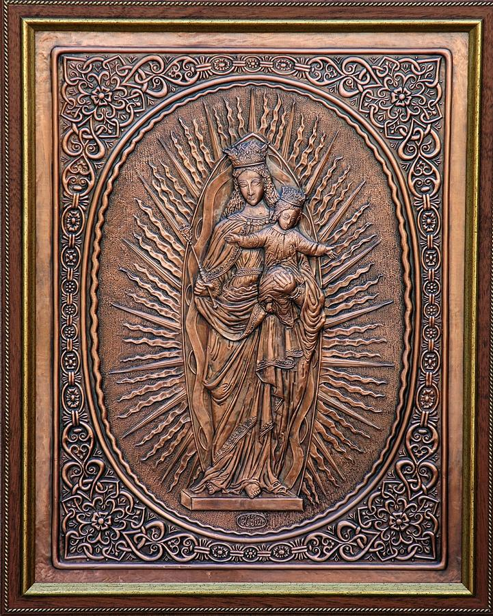 Reliefs Relief - The Virgin Mary With Jesus Christ by Netka Dimoska
