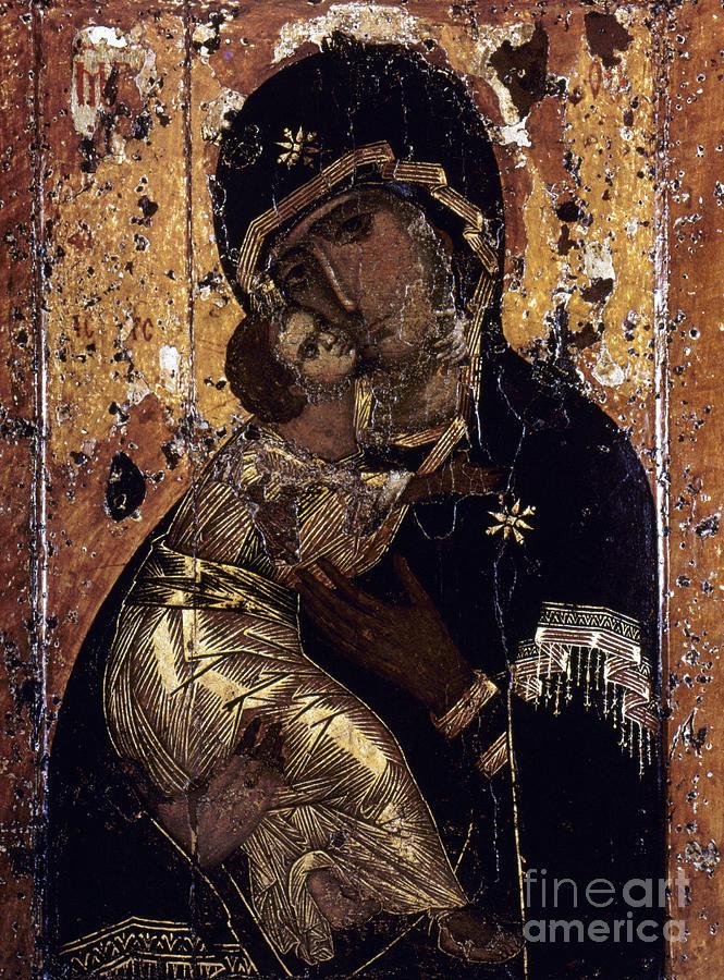 12th Century Painting - The Virgin Of Vladimir by Granger