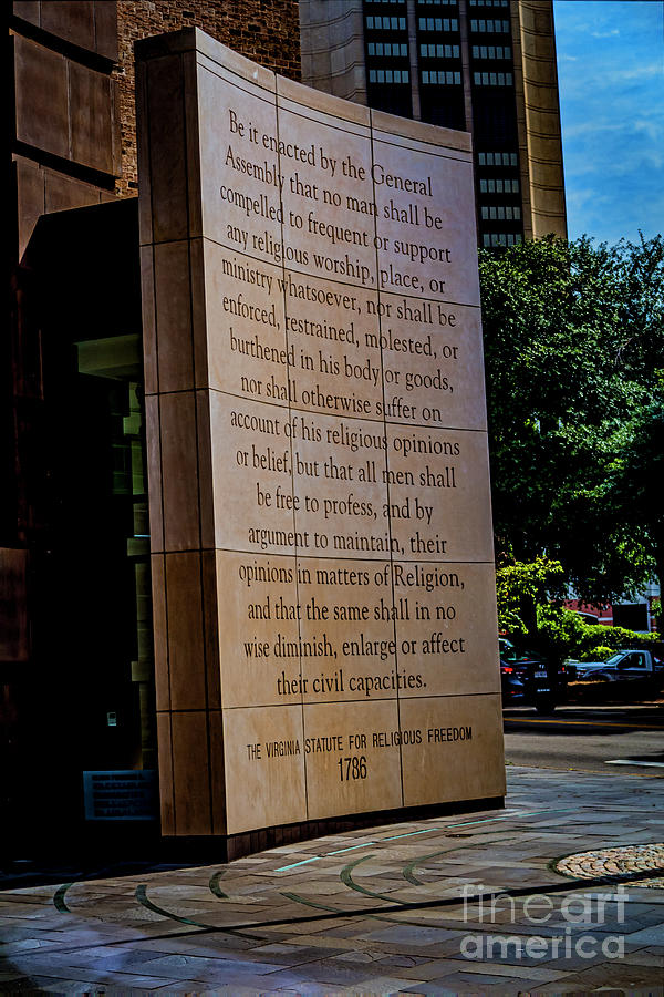 Thomas Jefferson Photograph - The Virginia Statute For Religious Freedom 5303VT by Doug Berry