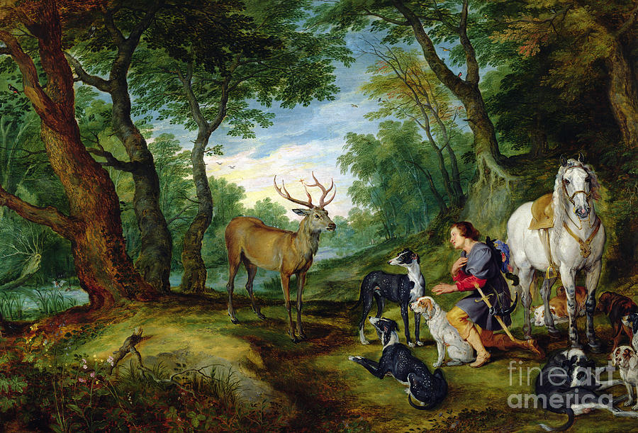 Hubert Painting - The Vision Of Saint Hubert by Brueghel and Rubens