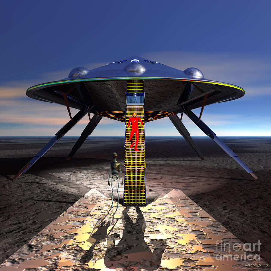 Science Fiction Digital Art - The Visitor 5 - Renfo Disembarks by Walter Neal