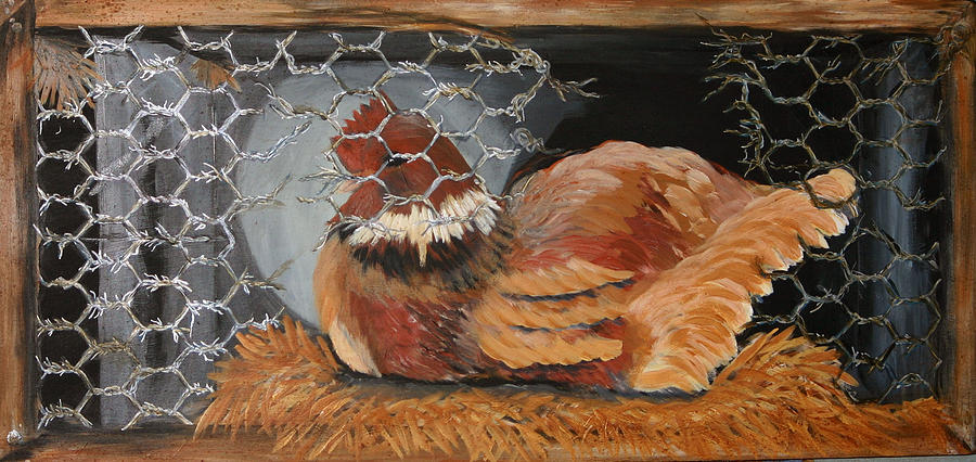 Roosters Painting - The Wait by Gigi Desmond