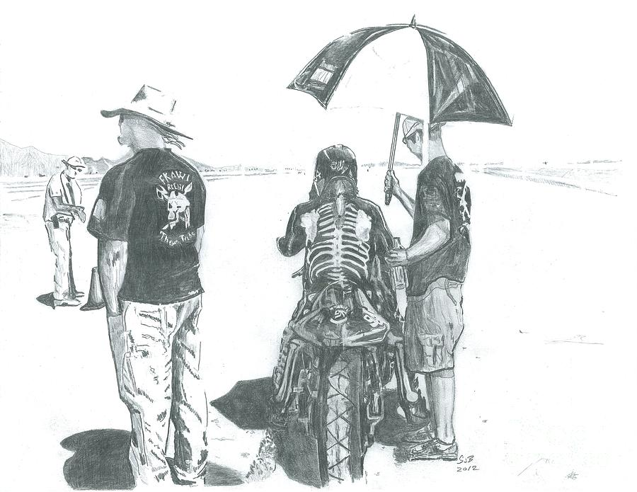 Bonneville Drawing - The Wait... by Stacey Becker