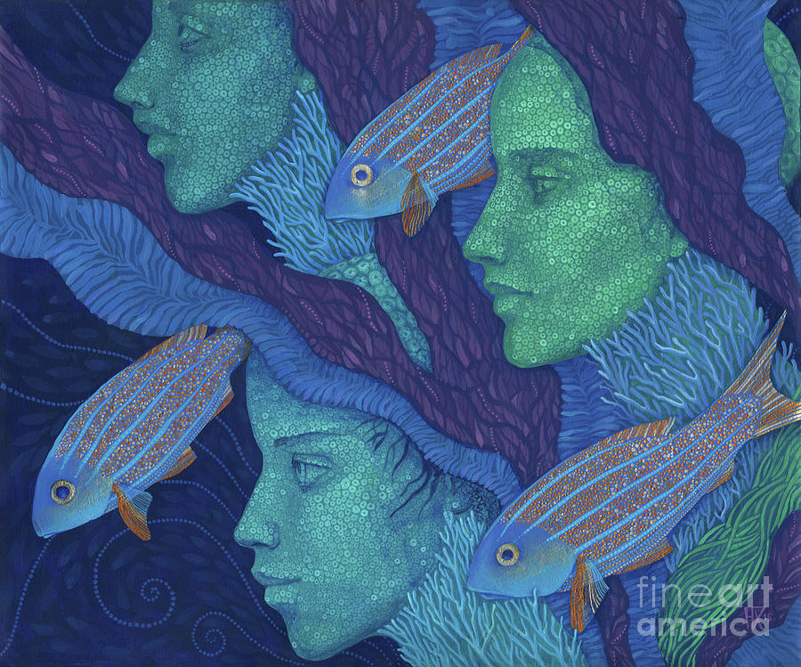 Mermaid Painting - The Waiting  by Julia Khoroshikh