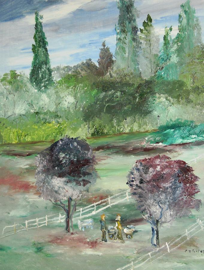 Landscape Painting - The Walk Through The Park by Edward Wolverton
