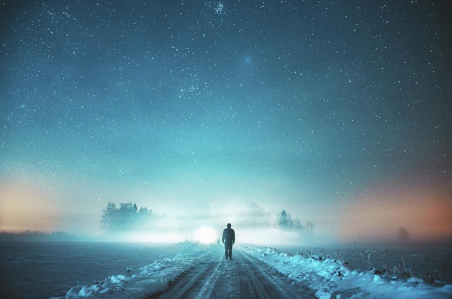Winter Photograph - The wanderer by Hendrik Mandla