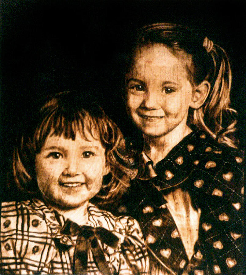 Portrait Pyrography - The Warmoth Girls - 1996 by Dino Muradian