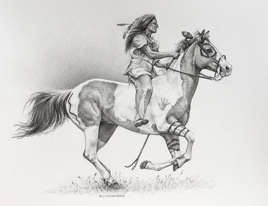 Lakota Drawing - The Warrior by Heidi Osgood-Metcalf