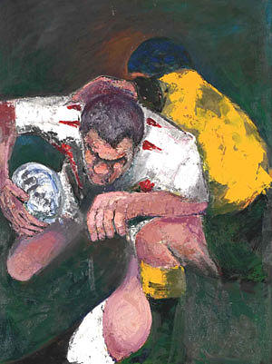 Martin Johnson Painting - The Warrior Martin Johnson by Rugby Prints medium print