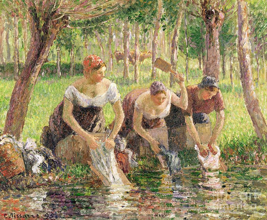 The Painting - The Washerwomen by Camille Pissarro