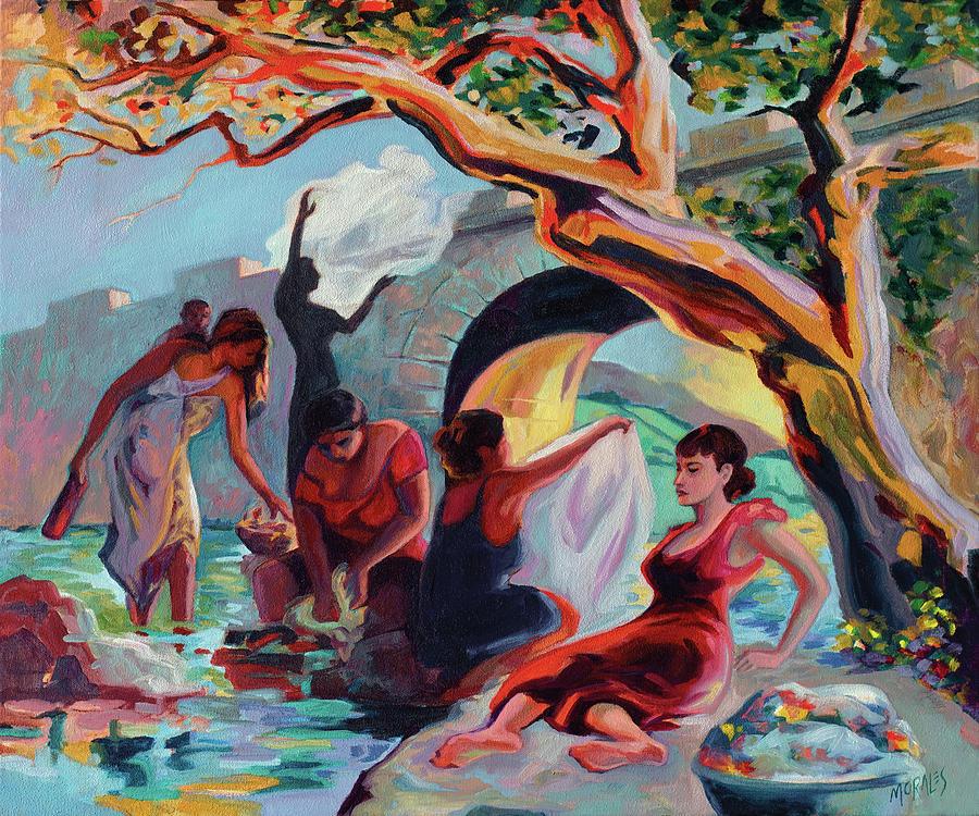 Washerwomen Painting - The Washerwomen / Las Lavanderas by Ben Morales-Correa