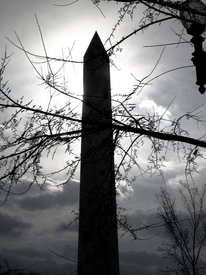 Photographs Pyrography - The Washington Monument - Black And White by Fareeha Khawaja