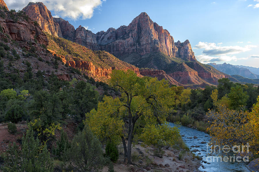 Hdr Photograph - The Watchman And Virgin River by Sandra Bronstein