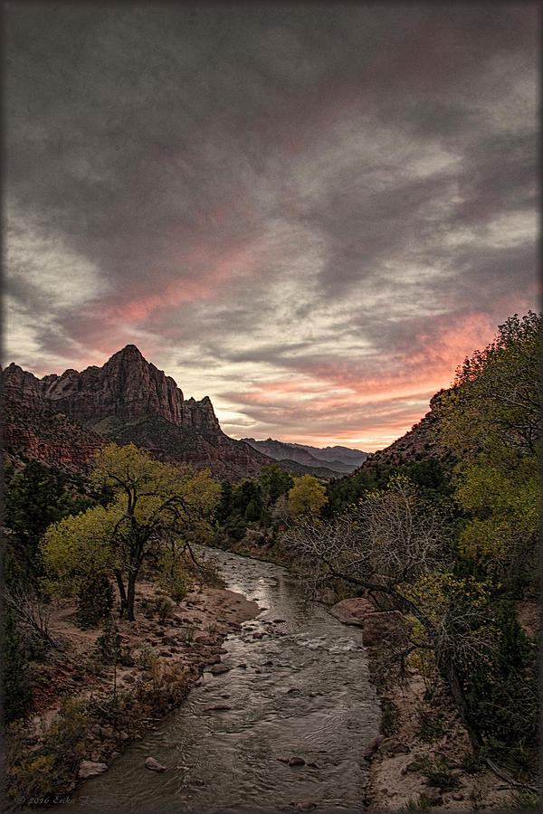 Watchman Photograph - The Watchman Sunset by Erika Fawcett