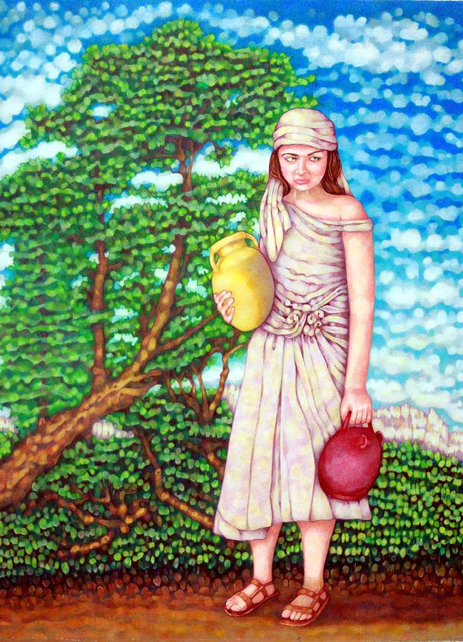 Biblical Drawing - The Water Maid by Edward Ruth