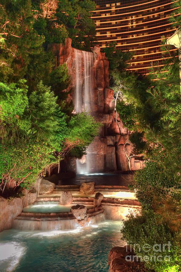 Waterfall Photograph - The Waterfall At The Wynn Resort by Eddie Yerkish