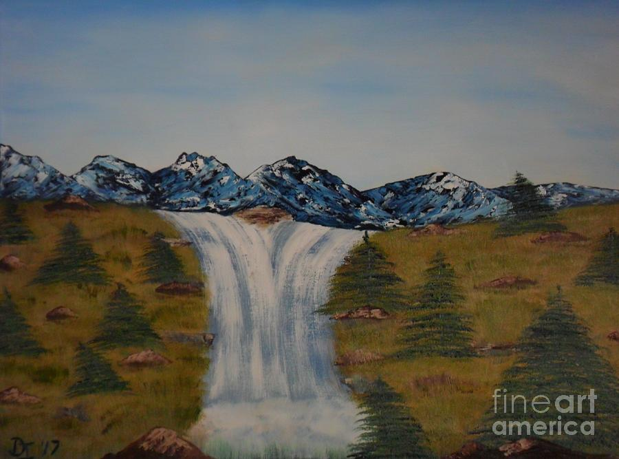 Water Painting - The Waterfall by Darrin Ingram