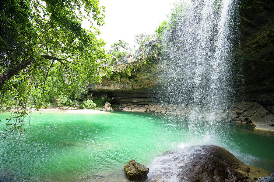 The Waterfall of Hamilton Pool in the Summer - Texas by Ellie Teramoto