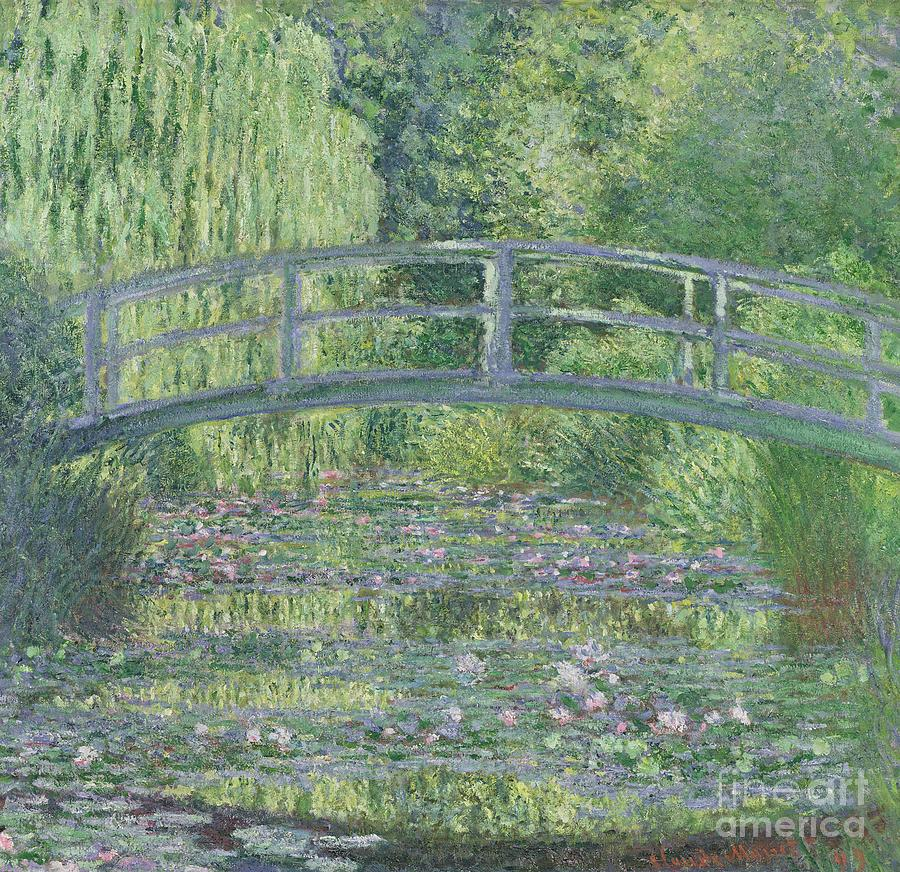 The Painting - The Waterlily Pond by Claude Monet