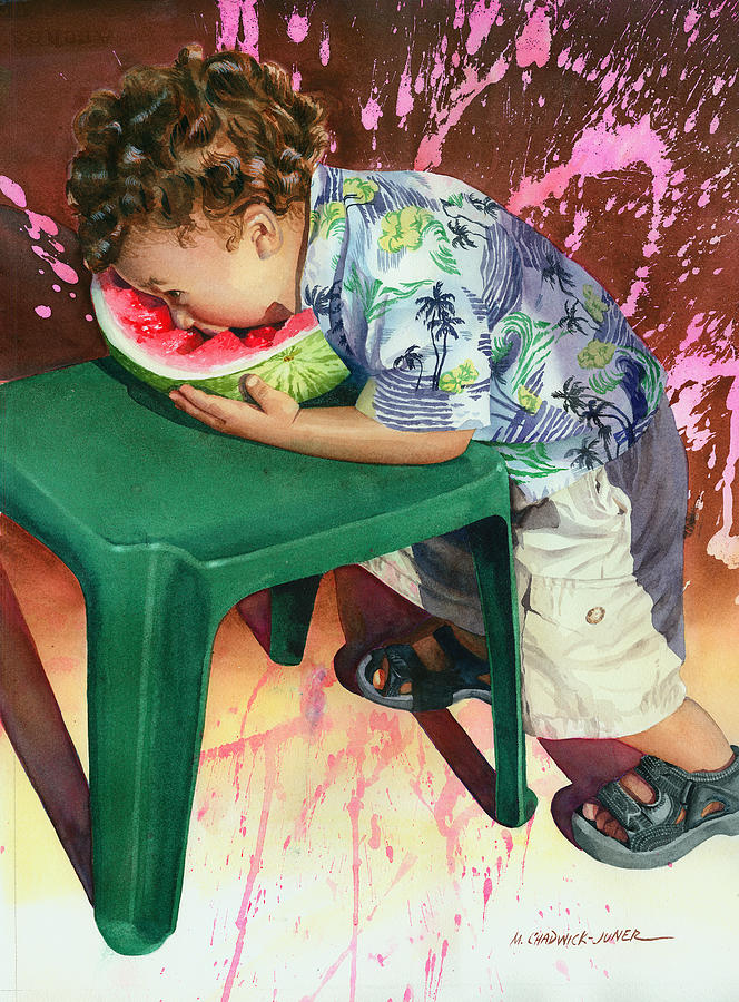 Watermelon Painting - The Watermelon Eater by Marguerite Chadwick-Juner