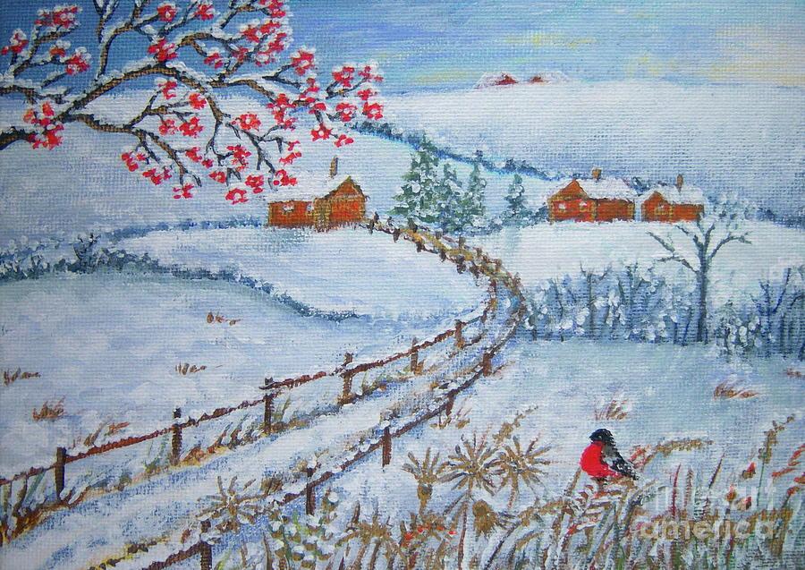 Christmas Painting - The Way Home by Loreta Mickiene