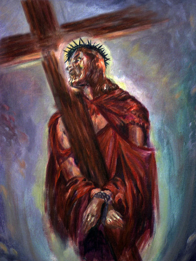 Religious Painting - The Way Of The Cross by Tommy  Winn