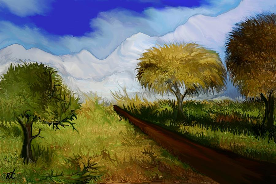 Mountains Painting - The Way To The Snowy Mountains by Rafi Talby