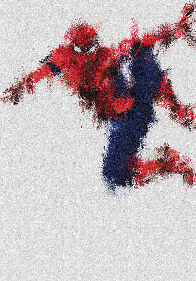 Spiderman Painting - The Web by Miranda Sether