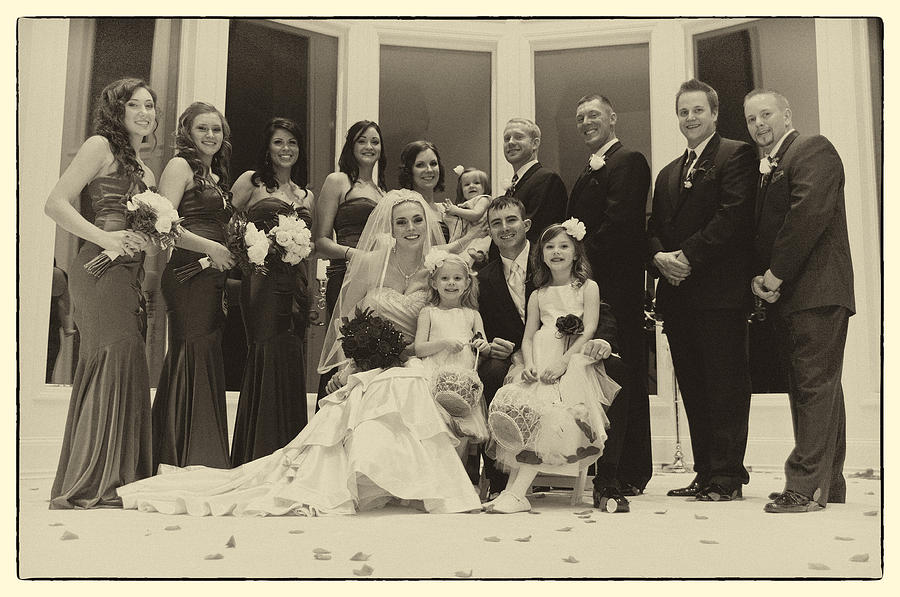 Vintage Photograph - The Wedding Party 2 by David Patterson