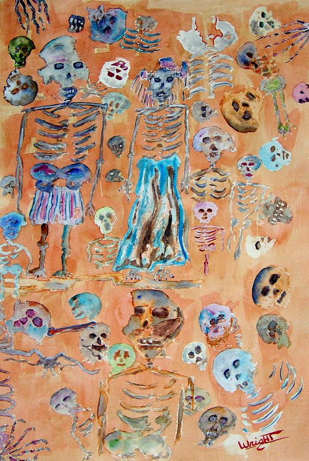 Skeletons Painting - The Wedding Party by Larry Wright