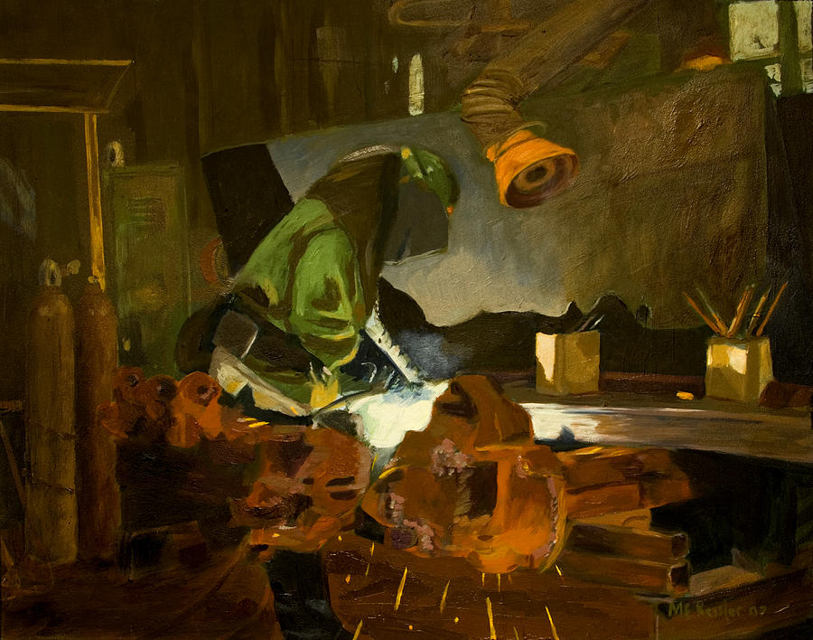Welder Painting - The Welder by Martha Ressler