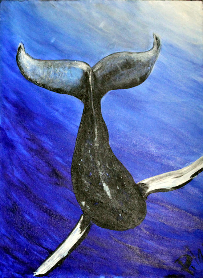 Whale Painting - The Whale by Pilar  Martinez-Byrne